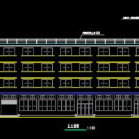 杭州某公司四层宿舍楼建筑图(下部食堂)