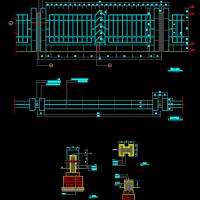 镂空围墙做法大样图,包括平面立面及基础图。