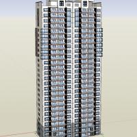 剪刀墙结构新中式高层住宅楼SketchUp模型图