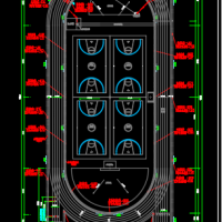 某大学300米跑道操场施工图纸(三级跳撑杆跳铅球投掷)