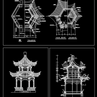 重檐六角亭景观设计CAD图