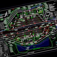 高速公路服务区场内规划CAD总平面图