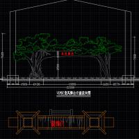 仿古树大门平立面CAD图块(仿胡杨)
