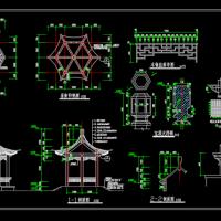 六角亭详细CAD施工图纸