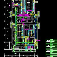 大型厨房排烟送风暖通CAD设计图纸