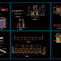 滨河铁链护栏 景观标识牌 木栏杆CAD设计详图