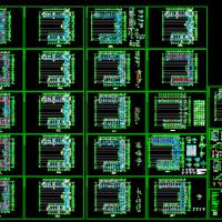 U型六层框架结构办公楼结构设计CAD图纸