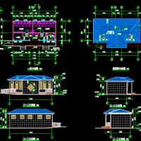 实用的坡屋顶城市公共厕所建筑及结构设计全套CAD图