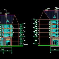 东北某旅游度假区多栋公寓楼及商业楼建筑图纸