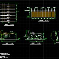 钢结构单悬挑阳光板停车棚设计图纸