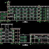 四层框架结构宿舍楼及食堂建筑设计图纸