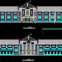 二层坡屋顶宾馆平立面施工图纸(漂亮欧式)