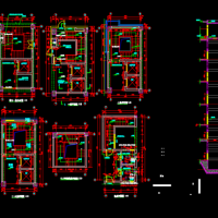 四跑楼梯建筑详图(井筒楼梯)