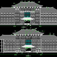 5238平米四层中式仿古教学楼建筑施工图纸(斗拱)