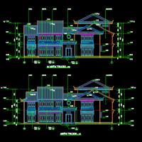 叠翠湾度假村仿古商业用房建筑设计图(飞檐 仿古门窗 门楼)