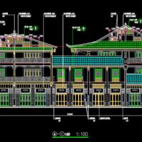 三层仿古商业楼建筑设计图