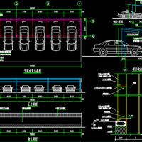 某钢结构汽车棚建筑及结构CAD设计图纸