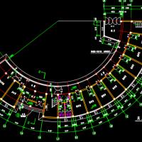 弧形建筑教研楼建筑图纸