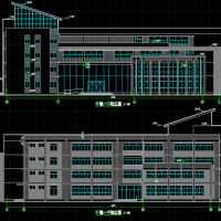 4549四层框架结构中学图书馆建筑图