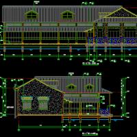 江南地区木结构咖啡书店建筑施工图(木结构)