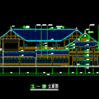 3614平米高速公路服务区三层综合楼建筑设计图(徽派翘角)