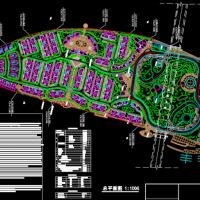 大型居住区总平面规划图(龙舟岛花园一期)