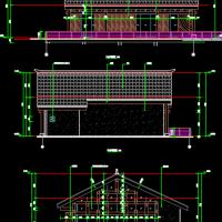 水边钢结构茶室建筑及结构图纸