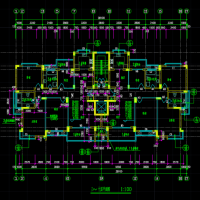 一个单元一梯两户11层小高层住宅楼建筑设计图