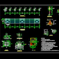 单悬挑钢结构汽车棚全套建筑结构施工图纸