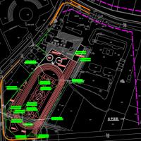 200米小学塑胶跑道运动场改建cad施工图(说明齐全 围墙 旗台)