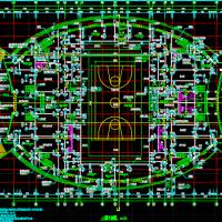 某地三层体育馆建筑设计施工图(含效果图 篮球馆)