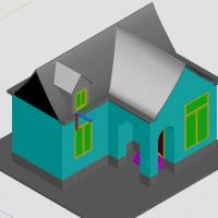 单层坡屋顶小房子CAD三维图