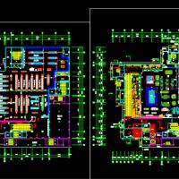 某地小型超市平面布置cad平面图(共2张)