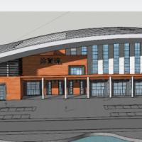 山东10992平米大学体育馆建筑方案图(含su模型 篮球游泳)