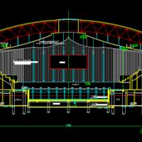 某梭形游泳馆建筑设计方案图(含跳水)