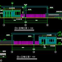 安徽某厂区大门及传达室设计CAD图