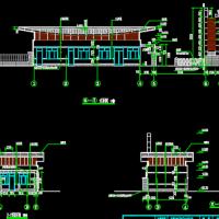 某管理所厂区大门立面建筑设计方案图
