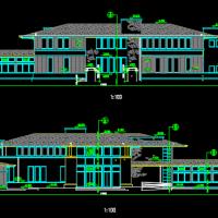 两层坡屋顶会所建筑图纸