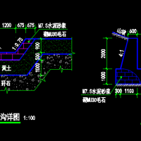 石砌截洪沟排水沟CAD详图
