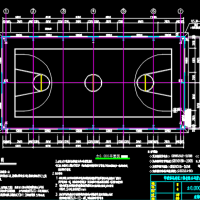 篮球场钢结构网架CAD图纸