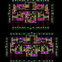 一梯三户高层住宅户型平面图两个