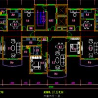 二类高层住宅一梯三户户型设计CAD图