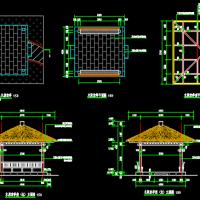 木质茅草凉亭CAD设计详图