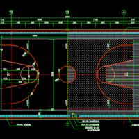 标准篮球场大样图及围网CAD详图