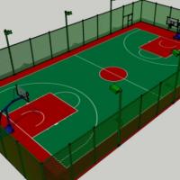标准的篮球场带铁丝网围栏SU模型