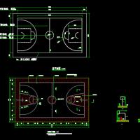 标准篮球场画线图及排水沟及地面详细做法CAD详图