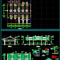 高速公路收费站雨棚建筑设计CAD图纸