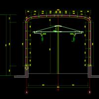 轨道车库U型槽钢结构雨蓬结构施工图纸