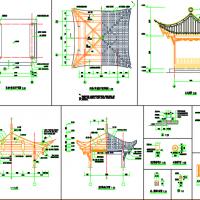 设计详细的木结构四角古亭CAD图纸