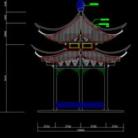 双层六角亭CAD施工图纸